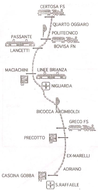 Progetto del percorso metrotranvia - 2000