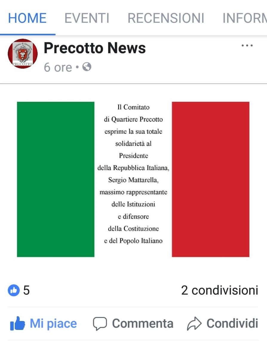 Post di solidarietà al presidente della Repubblica