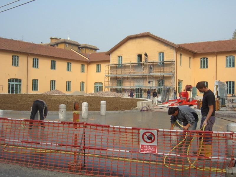 Lavori nuova piazza in via Rucellai