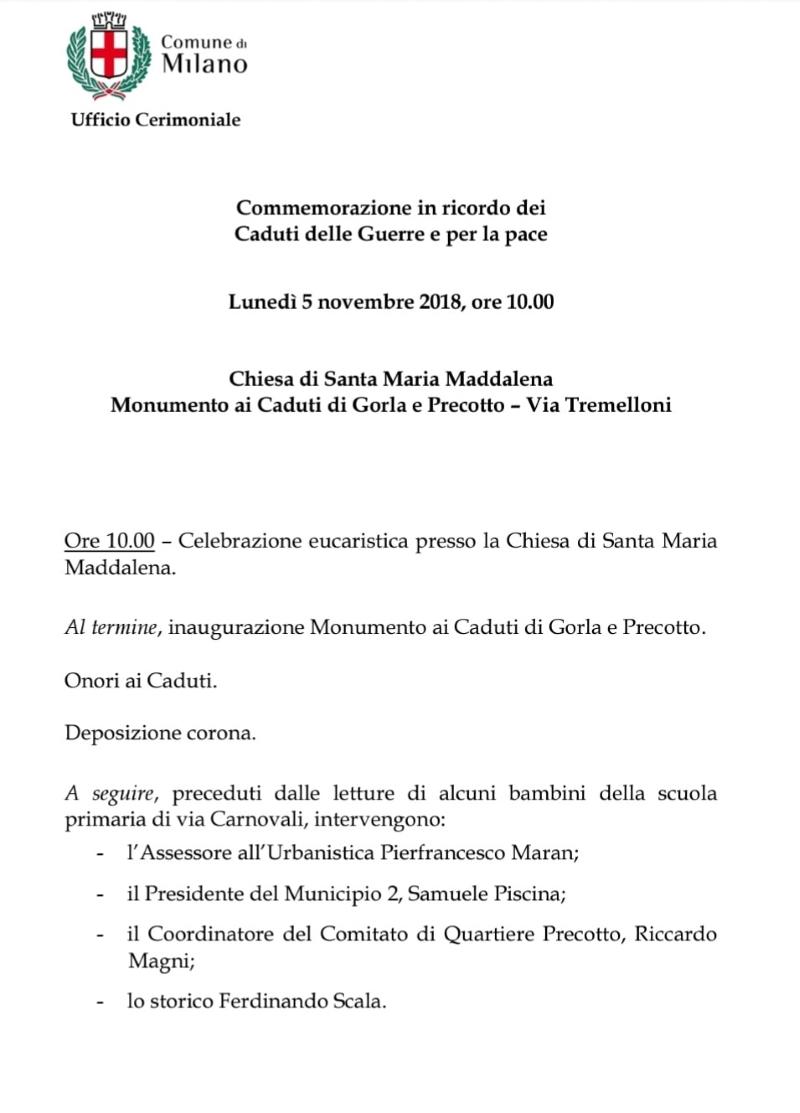 Programma inaugurazione monumento